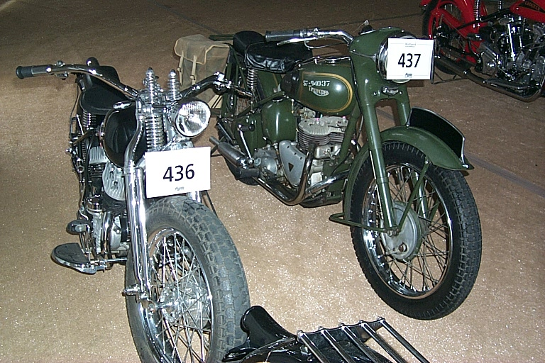Some of the many fan owned motorbikes that were on auction