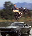 Mustang Fastback and Triumph Motorcycle